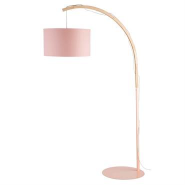 Lampadaire en métal et abat-jour rose H192