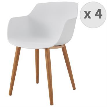 ANDREA-Chaise scandinave blanc pied métal effet bois
