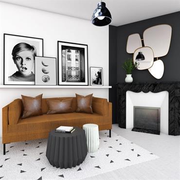 Un univers noir et blanc aux notes « Arty » grâce à de belles affiches encadrées pleine de caractère.  Domozoom