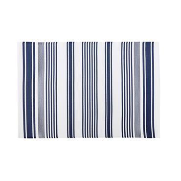 Tapis d'extérieur écru motifs à rayures bleues 120x180