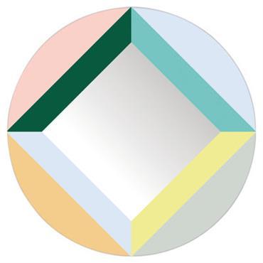 Miroir autocollant Round Square / Ø 48 cm - Domestic multicolore