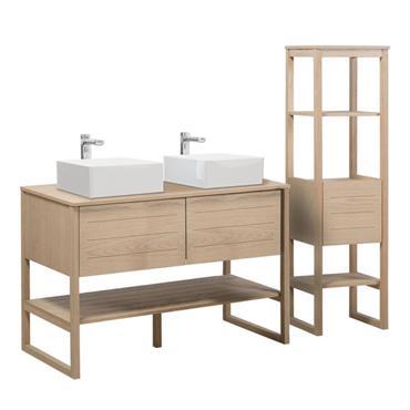 Retrouver notre meuble salle de bain en chêne ATOLL accompagné d'une colonne de rangement. Cet ensemble de salle de bain possède un design naturel grâce au bois qui compose le ...