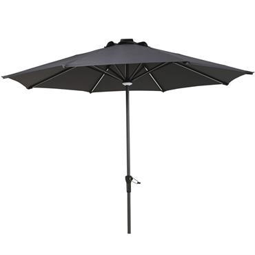 Parasol lumineux à LED en toile gris anthracite Luciole