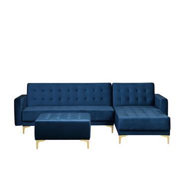 Canapé angle à gauche en velours bleu marine avec pouf ottoman