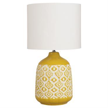 Lampe en céramique jaune moutarde et abat-jour écru