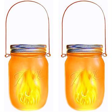 Lanterne solaire décorative verre transparent H14cm