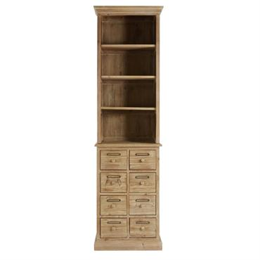 Bibliothèque 8 tiroirs en pin recyclé Botanica