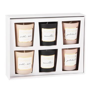 Coffret 6 bougies lumignons parfumées en verre