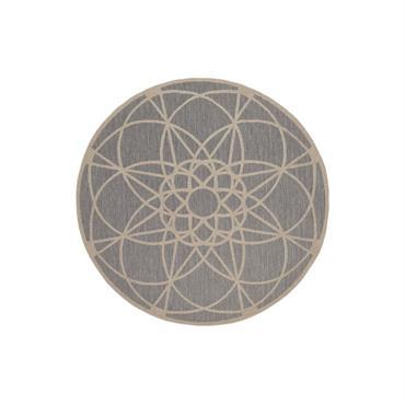 Tapis géométrique design en polypropylène argenté Ø 194