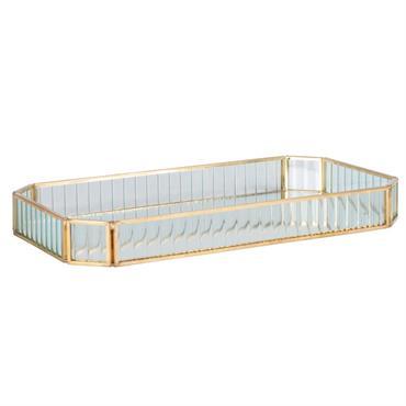 Plateau en verre et métal doré L31