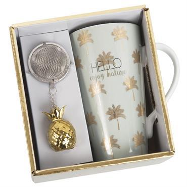 Coffret tasse avec infuseur à thé en porcelaine motifs dorés