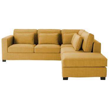 Canapé d'angle 5 places jaune moutarde Milano