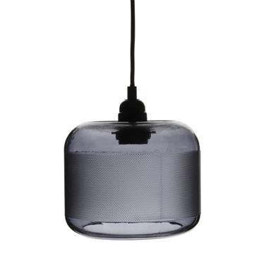 Suspension en métal noir et verre teinté violet