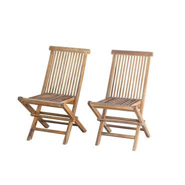 2 chaises de jardin pliantes en teck huilé