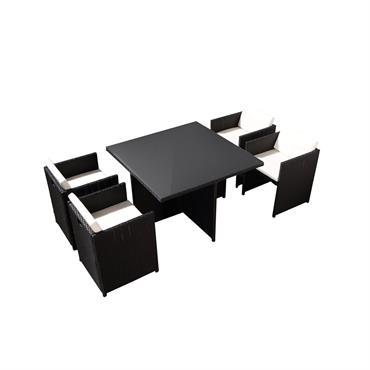 Table et chaises 4 places encastrables en résine noir/blanc