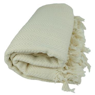 Plaid ethnique en coton écru décoré de chevrons pour un esprit bohème chic !  Domozoom