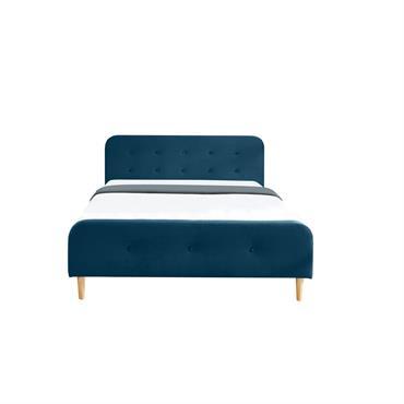 Lit bleu paon avec sommier à lattes et tête de lit 140x190