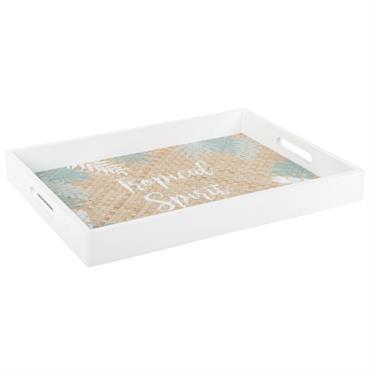Plateau blanc et coloris naturel imprimé
