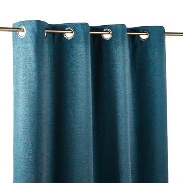 Rideau à illets bleu canard 140x300