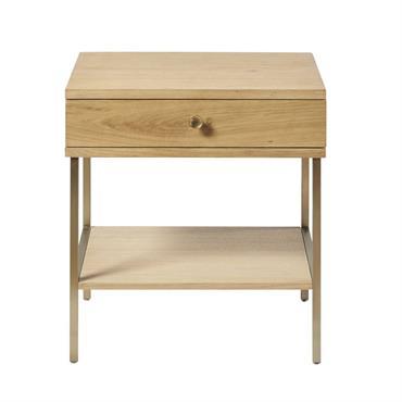 Table de chevet 1 tiroir et pieds en métal coloris laiton Karla