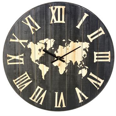 Horloge carte du monde en sapin gravé D95