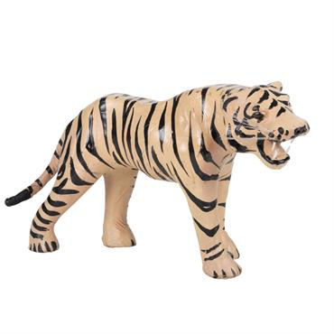 Statuette tigre en cuir de mouton et acier L30
