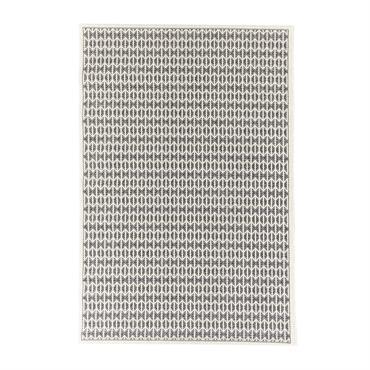 Tapis géométrique scandinave en polypropylène noir 130x190