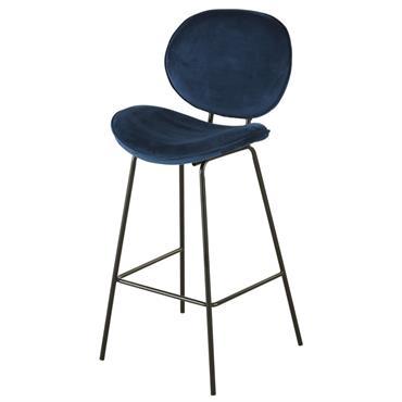 Chaise de bar en velours bleu et métal noir Luna