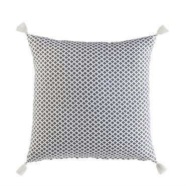 Coussin en coton blanc motifs graphiques à pompons 45x45