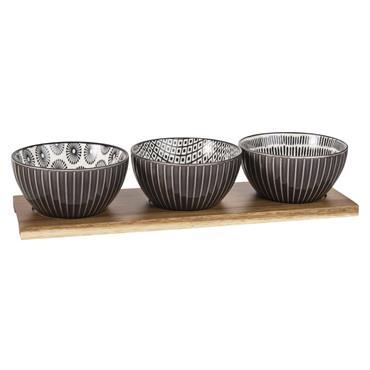Plateau apéritif 3 bols en grès à motifs