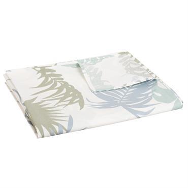 Nappe enduite en coton écru imprimé feuillage 140x250