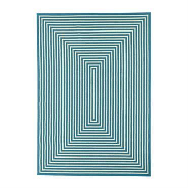 Tapis géométrique design en polypropylène bleu clair 133x190