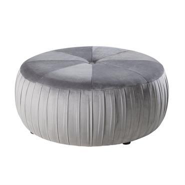Pouf rond en velours gris et pin