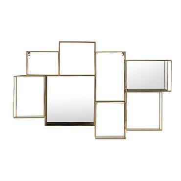 Entre les lignes graphiques et le jeu d'optique, votre cur balance ? N'hésitez plus avec l' étagère murale miroir en métal doré ELTON , qui mixe parfaitement le design contemporain ...