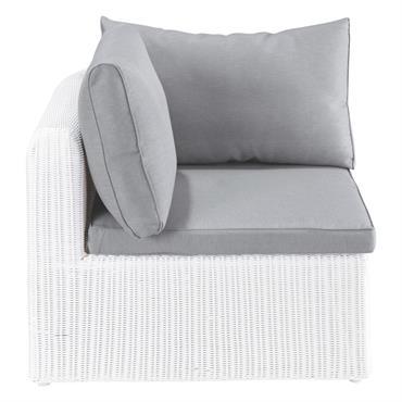 Angle de canapé de jardin en résine tressée blanc Mykonos