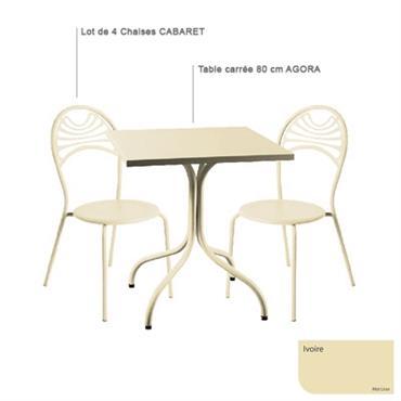Ensemble table carrée Agora et 4 chaises Cabaret