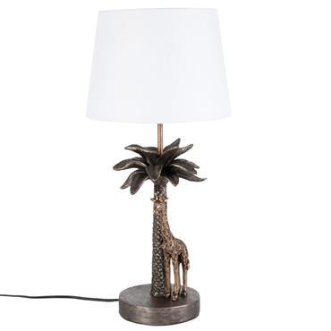 Lampe girafe palmier marron et abat-jour blanc