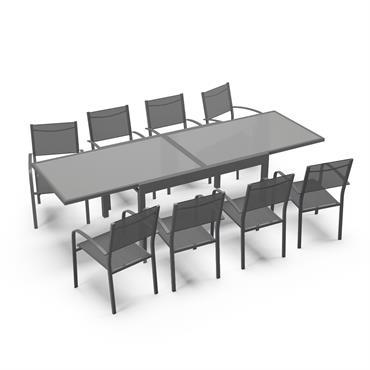 Table de jardin 8 personnes en aluminium gris anthracite