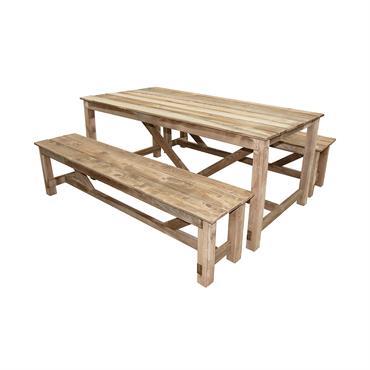 Ensemble de jardin table et banc 6 places en bois Normand