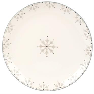 Assiette plate en faïence motifs graphiques gris