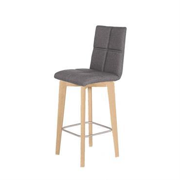 Chaise de bar scandinave tissu anthracite et piètement en chêne