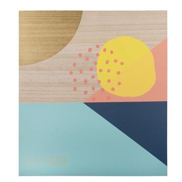 Déco murale en paulownia motifs graphiques 45x50