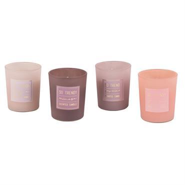 Coffret 4 bougies parfumées en verre