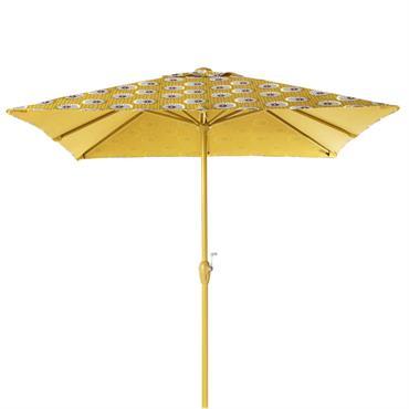 Parasol en aluminium et toile motifs jaunes et noirs Palavas