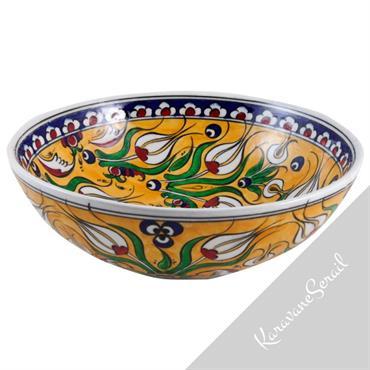 Bols en céramique d'Iznik de style traditionnel ottoman ou en faïence orientale colorée. Travail d'artisanat d'art original.  Domozoom
