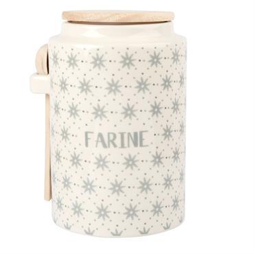 Pot à farine en faïence motifs graphiques gris