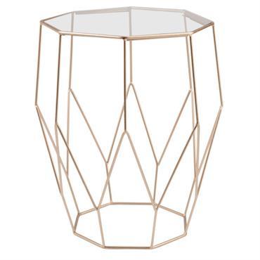 Vous ne résisterez pas à l'alliance du verre et du métal avec le bout de canapé filaire JAYA . La structure graphique en métal doré apportera un maximum de délicatesse ...