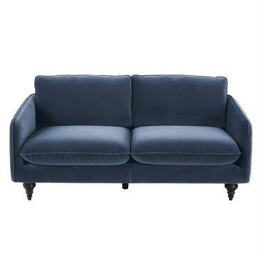 Canapé 3 places en velours bleu Nour