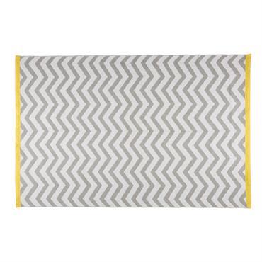 Tapis motifs chevrons gris et blancs 160x230cm WAVE