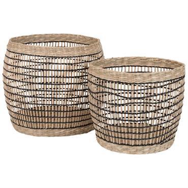 2 cache-pots ajourés en fibre végétale noire H18